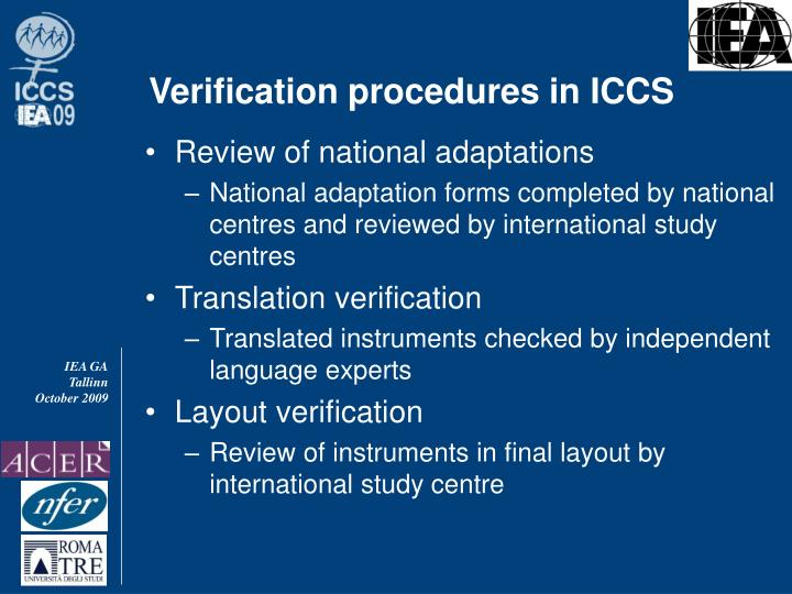 Verification procedures in ICCS