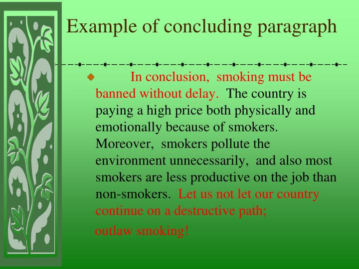Example of concluding paragraph