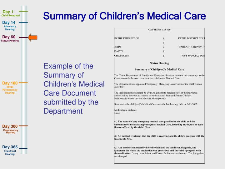 Summary of Children's Medical Care