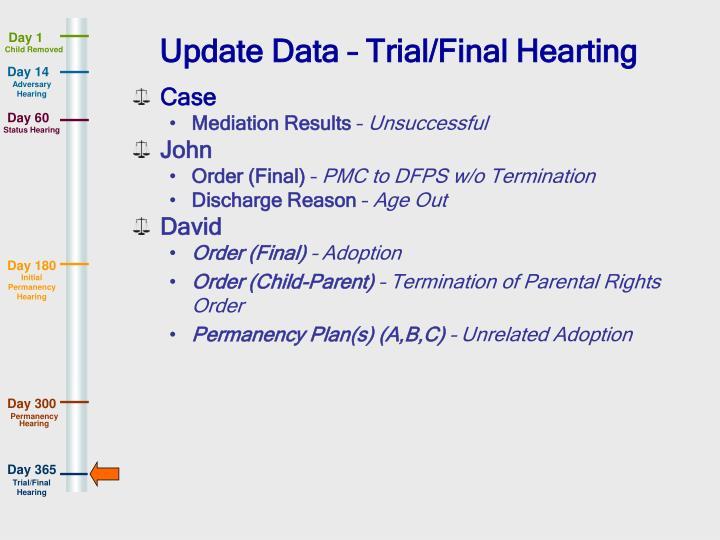 Update Data – Trial/Final Hearting