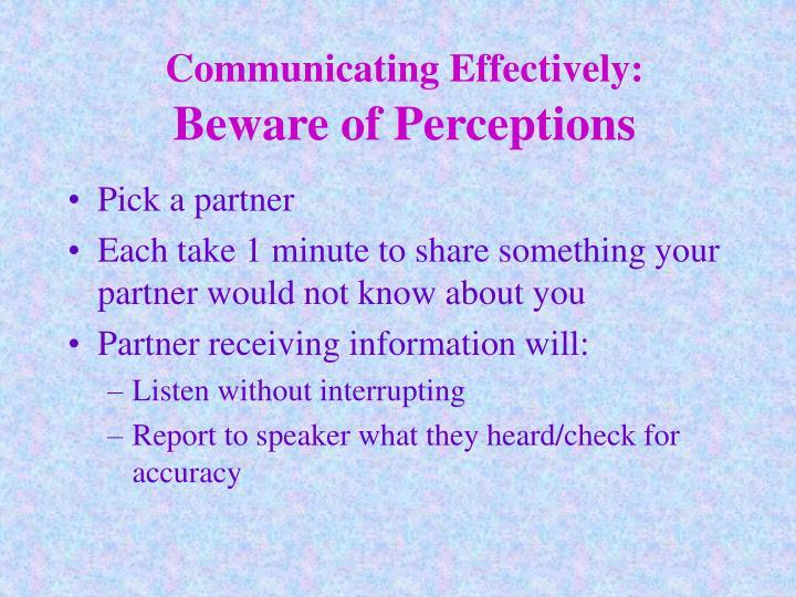 Communicating Effectively: