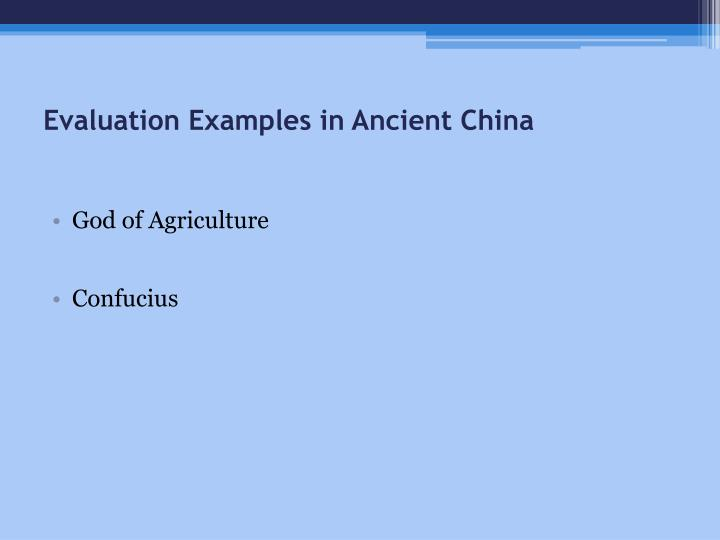Evaluation Examples in Ancient China