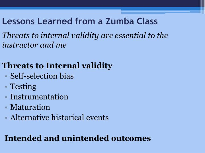 Lessons Learned from a Zumba Class