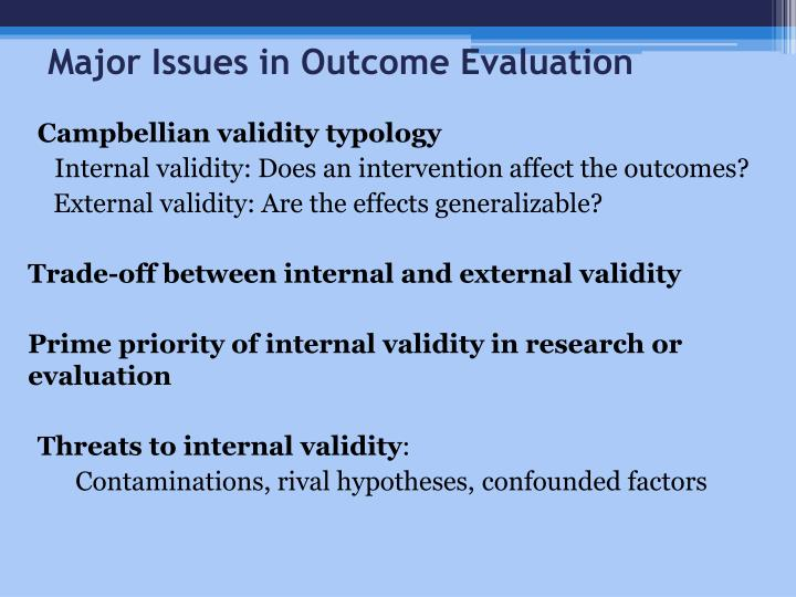 Major Issues in Outcome Evaluation