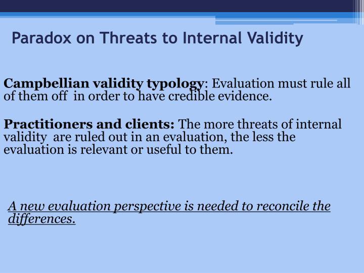 Paradox on Threats to Internal Validity