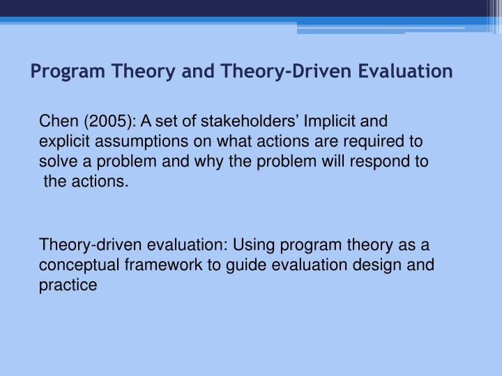 Program Theory and Theory-Driven Evaluation