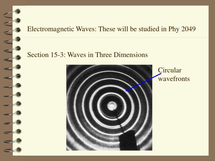 Electromagnetic Waves: These will be studied in Phy 2049
