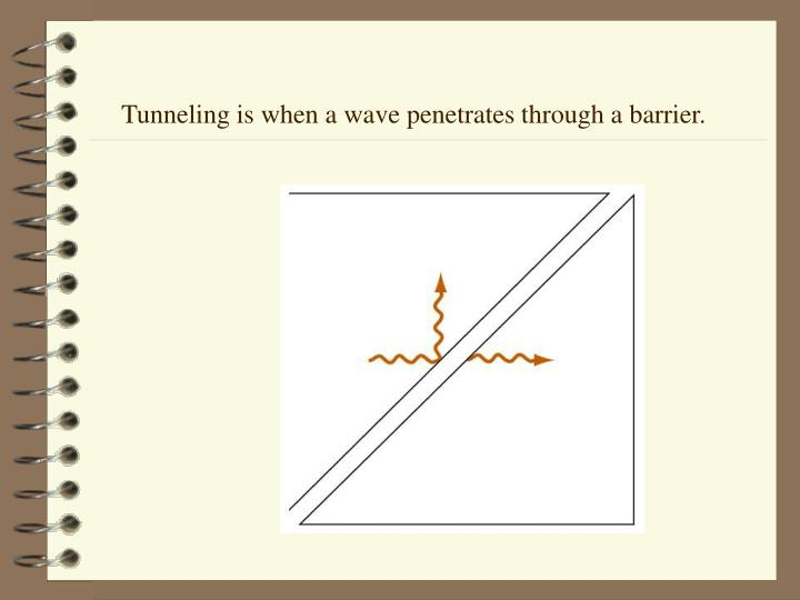 Tunneling is when a wave penetrates through a barrier.