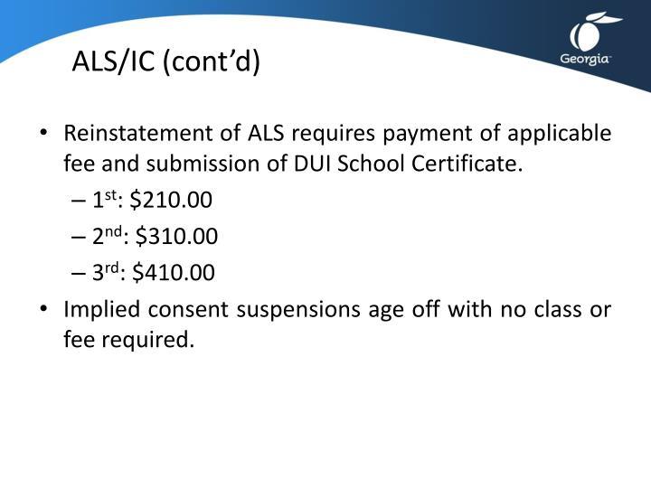 ALS/IC (cont'd)