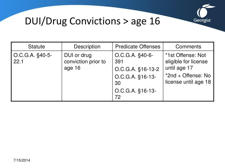DUI/Drug Convictions > age 16