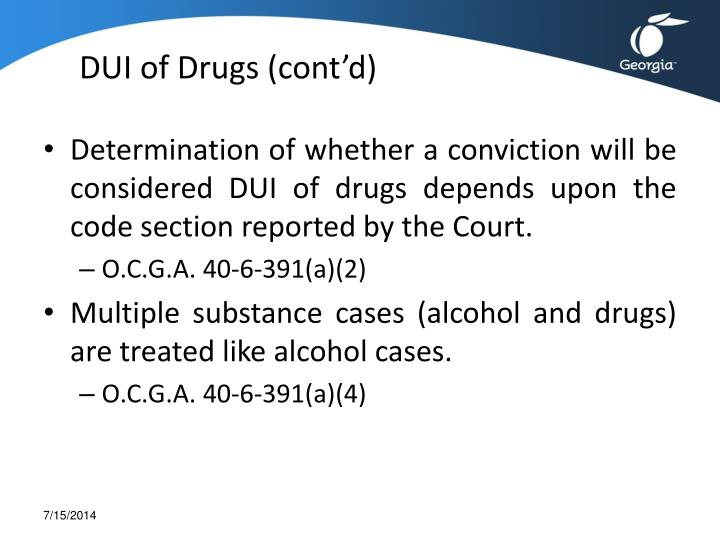 DUI of Drugs (cont'd)
