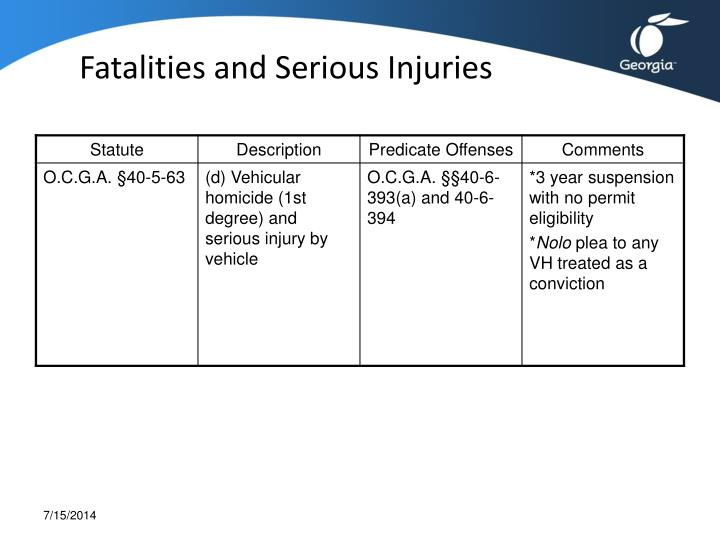 Fatalities and Serious Injuries