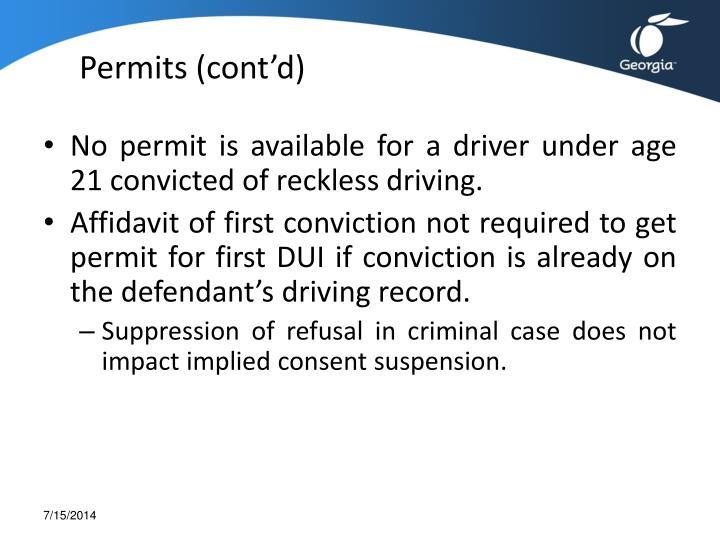 Permits (cont'd)