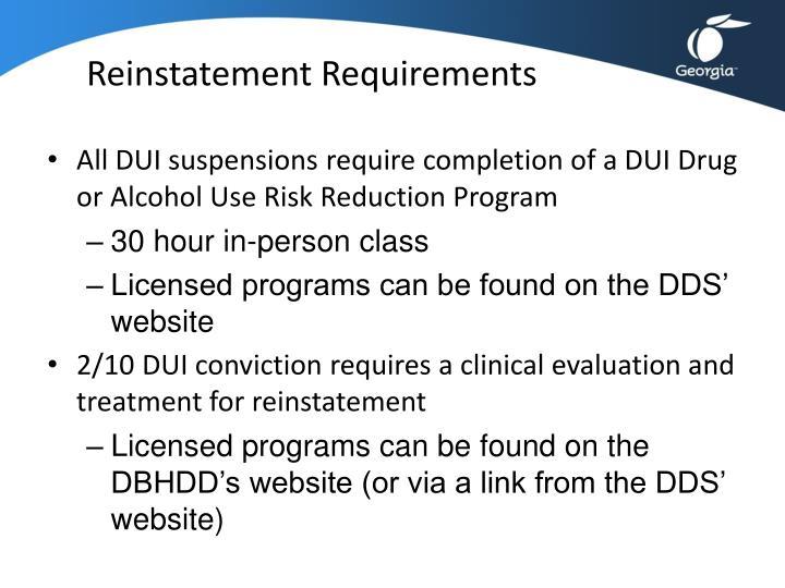 Reinstatement Requirements