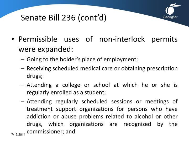 Senate Bill 236 (cont'd)