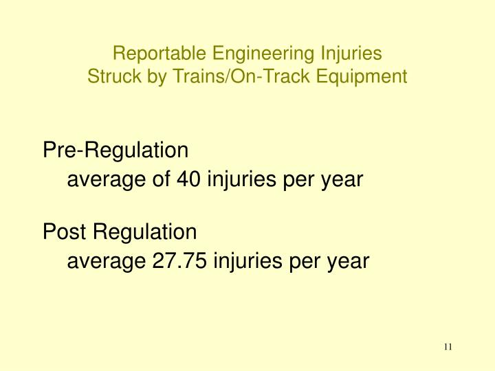Reportable Engineering Injuries
