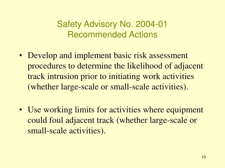 Safety Advisory No. 2004-01