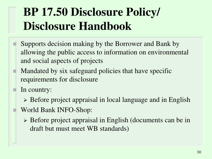 BP 17.50 Disclosure Policy/