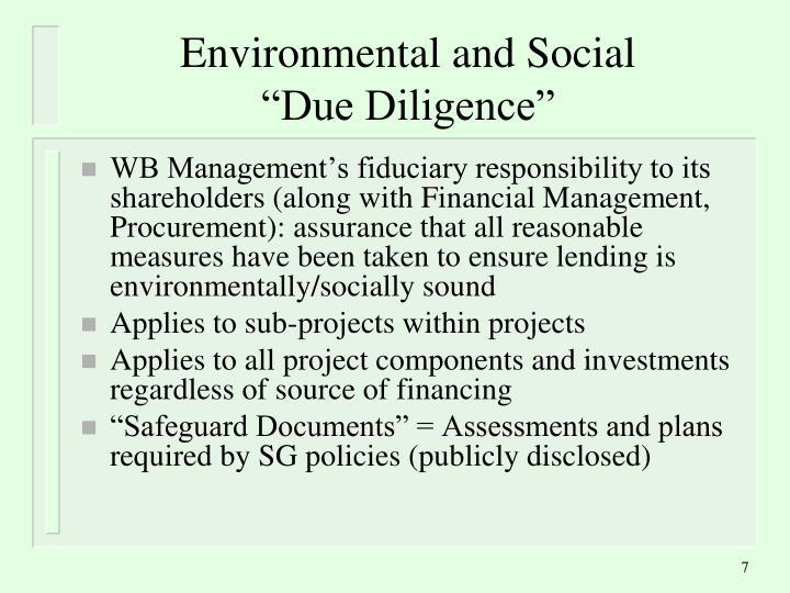 Environmental and Social