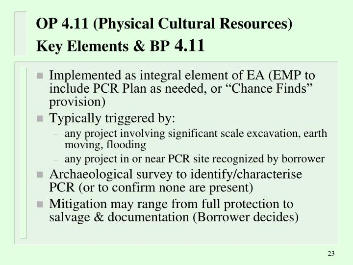 OP 4.11 (Physical Cultural Resources)