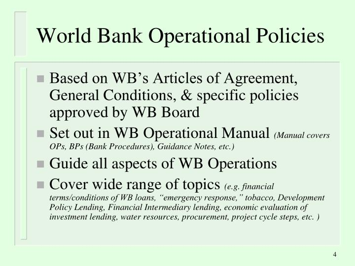 World Bank Operational Policies