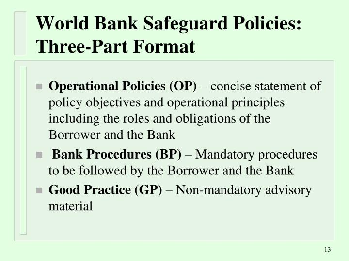 World Bank Safeguard Policies: