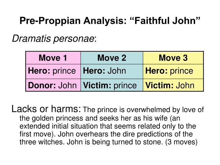 "Pre-Proppian Analysis: ""Faithful John"""