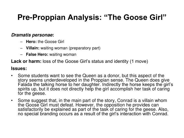 """Pre-Proppian Analysis: """"The Goose Girl"""