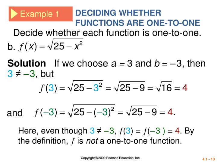 DECIDING WHETHER FUNCTIONS ARE ONE-TO-ONE