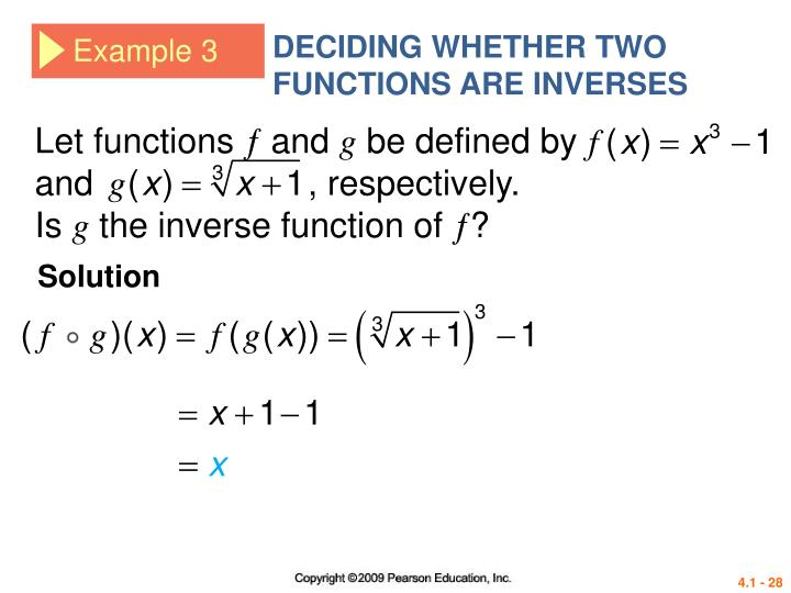 DECIDING WHETHER TWO FUNCTIONS ARE INVERSES