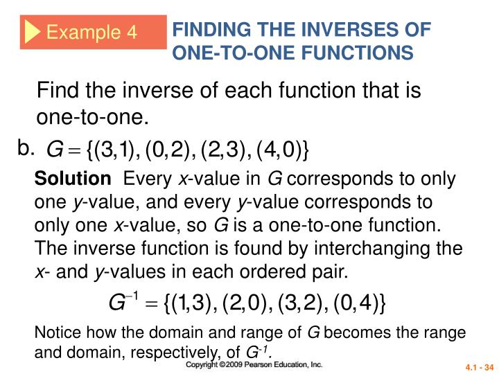 FINDING THE INVERSES OF ONE-TO-ONE FUNCTIONS