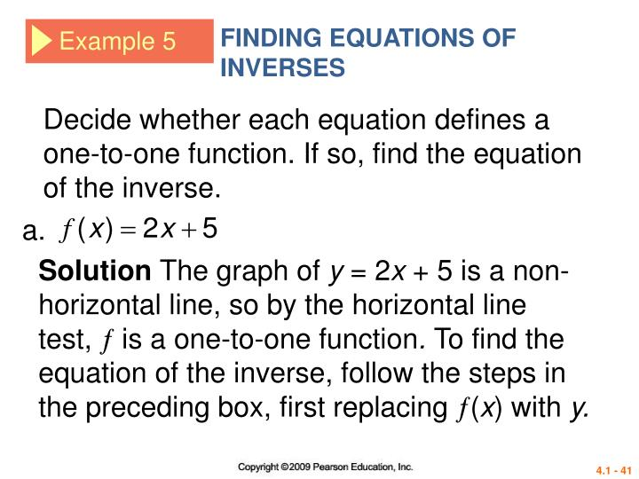 FINDING EQUATIONS OF INVERSES