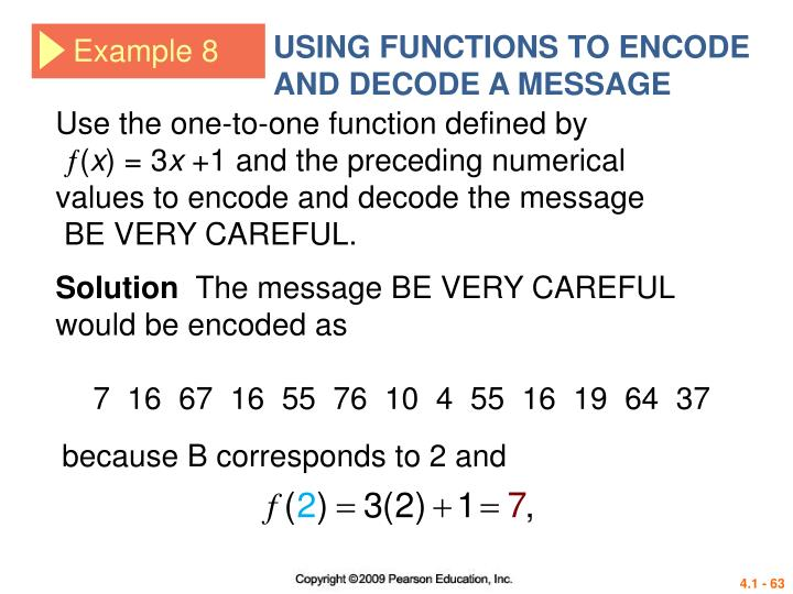 USING FUNCTIONS TO ENCODE AND DECODE A MESSAGE