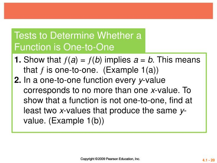 Tests to Determine Whether a Function is One-to-One