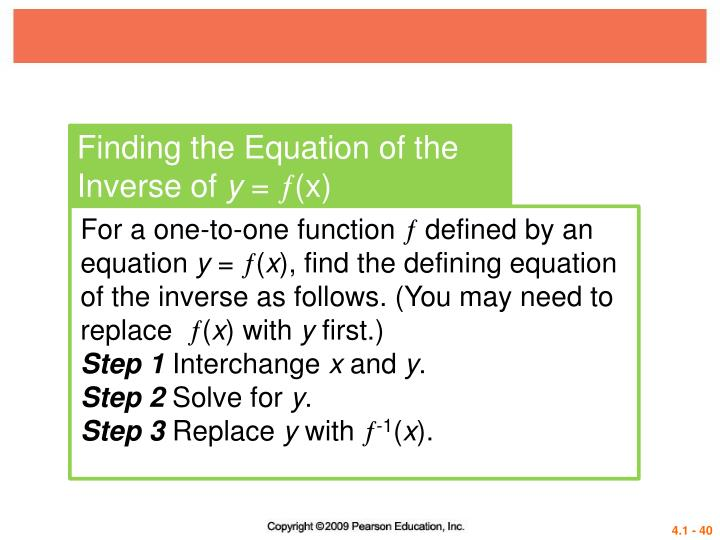 Finding the Equation of the Inverse of