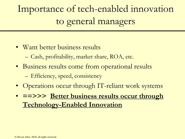 the results of technological innovation Technological innovations, to be more precise marketing and organizational  determinants and effects of non-technological innovations.