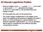 ec discrete logarithmic problem