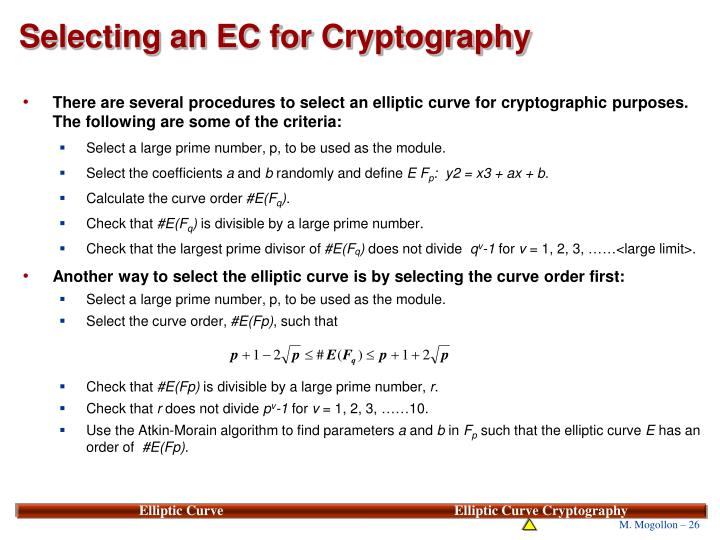 Selecting an EC for Cryptography