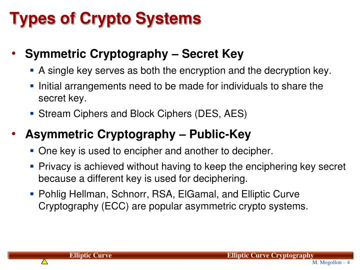 Types of Crypto Systems