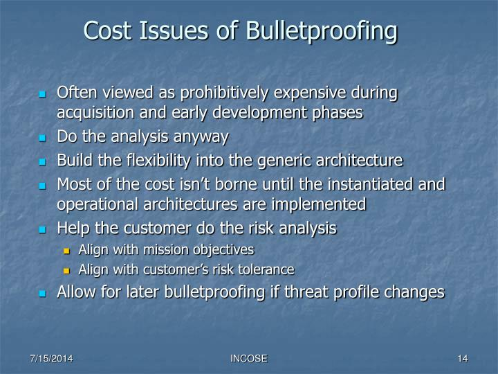Cost Issues of Bulletproofing