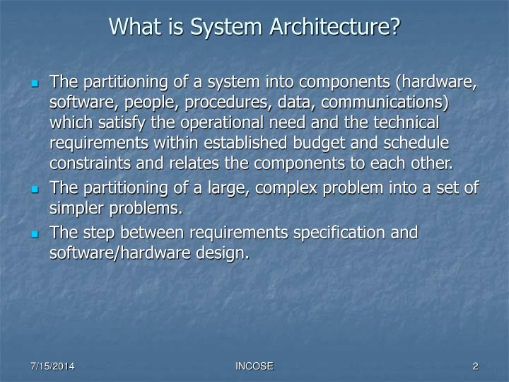 What is system architecture