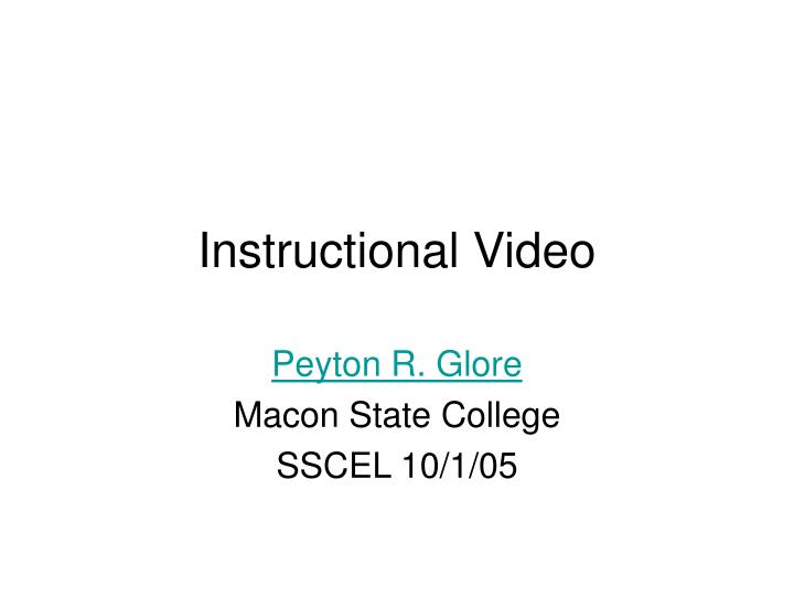 Instructional video
