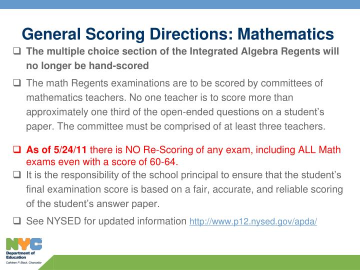 General Scoring Directions: Mathematics