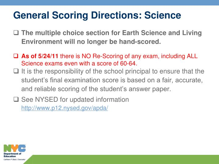 General Scoring Directions: Science