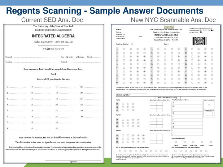 Regents Scanning - Sample Answer Documents