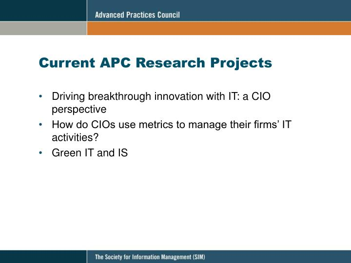 Current APC Research Projects