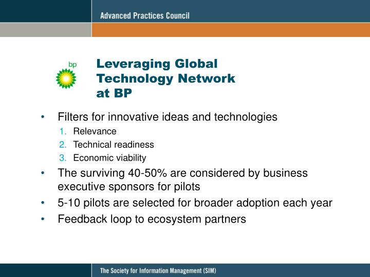 Leveraging Global Technology Network at BP