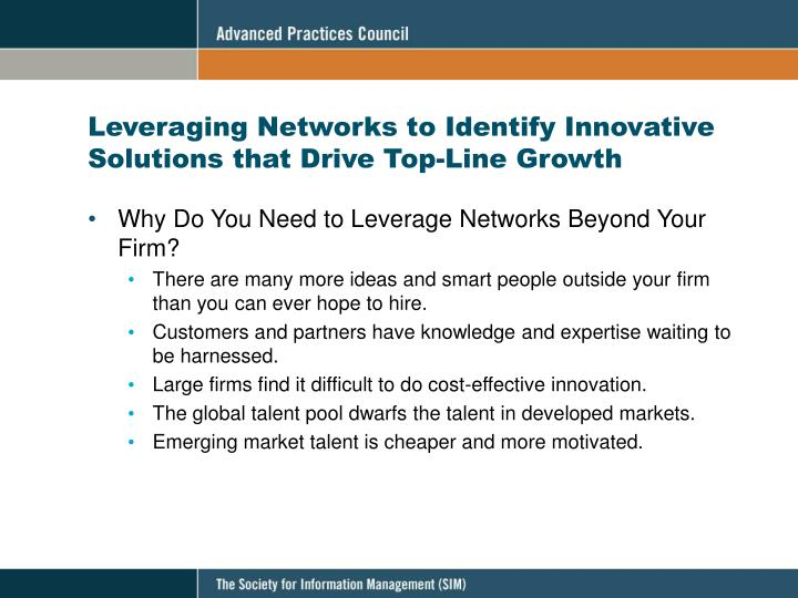 Leveraging Networks to Identify Innovative Solutions that Drive Top-Line Growth