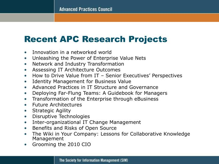 Recent APC Research Projects