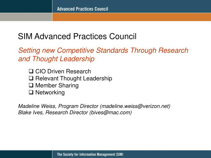 SIM Advanced Practices Council